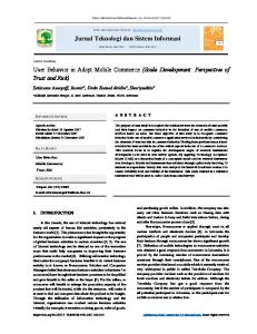 Jurnal Teknologi dan Sistem Informasi User Behavior in Adopt Mobile ...