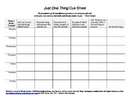 Just One Thing Cue Sheet - Dr. Rick Hanson