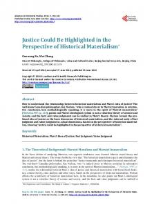 Justice Could Be Highlighted in the Perspective of Historical Materialism