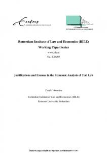 Justifications and Excuses in the Economic Analysis or Tort Law