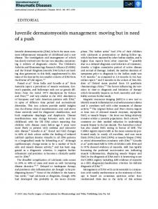 Juvenile dermatomyositis management: moving ... - Wiley Online Library