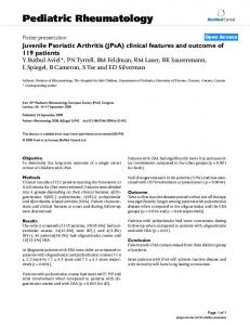 Juvenile Psoriatic Arthritis (JPsA) clinical features and outcome of 119