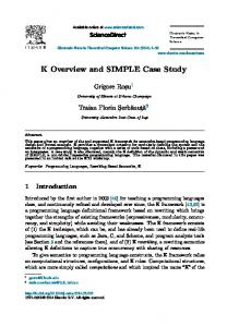K Overview and SIMPLE Case Study - ScienceDirect.com
