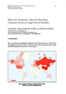 Kahu and Olympedia: Ideas for Educating Computer Science to High ...