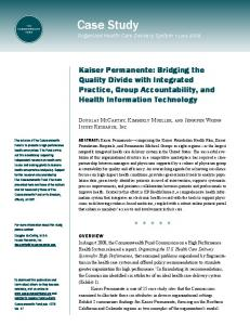 Kaiser Permanente Case Study - The Commonwealth Fund