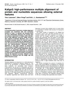 Kalign2: high-performance multiple alignment of ... - BioMedSearch