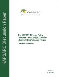 KAPSARC Discussion Paper