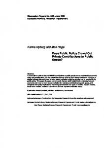 Karine Nyborg and Mari Rege Does Public Policy Crowd Out Private
