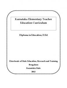 Karnataka Elementary Teacher Education Curriculum - dsert