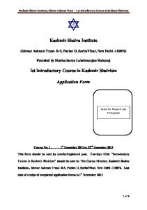 Kashmir Shaiva Institute Ist Introductory Course in Kashmir Shaivism ...