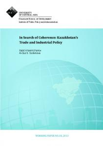 Kazakhstan's Trade and Industrial Policy - University of Central Asia