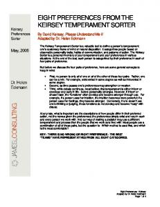Keirsey Preference Sorter - James L Consulting