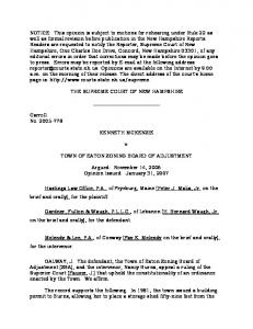 Kenneth McKenzie v. Town of Eaton Zoning Board of Adjustment