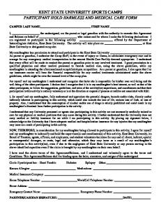 Kent State Medical Release Form - Kent State Camps