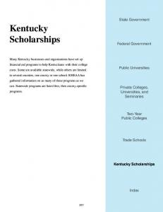 Kentucky Scholarships - Kentucky Higher Education Assistance ...
