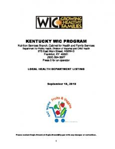 kentucky wic program - Kentucky: Cabinet for Health and Family ...