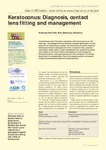 Keratoconus: Diagnosis, contact lens fitting and management