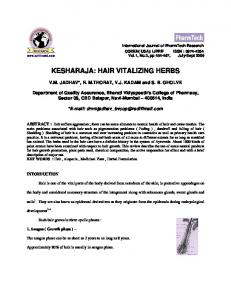 kesharaja: hair vitalizing herbs - International Journal of ChemTech