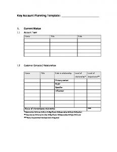 Key Account Planning Template: Client 1 Limited - Bellcom Worldwide