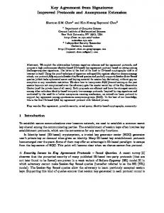 Key Agreement from Signatures: Improved Protocols and ... - CiteSeerX