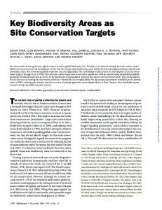 Key Biodiversity Areas as Site Conservation Targets