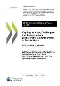 Key Ingredients, Challenges and Lessons from Biodiversity ...