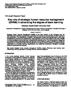 Key role of strategic human resource management (SHRM) in ...