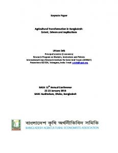 Keynote Paper Agricultural Transformation in Bangladesh - Core
