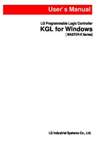 KGL for Windows User's Manual - Foster