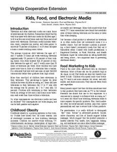 Kids, Food, and Electronic Media - Publications and Educational ...
