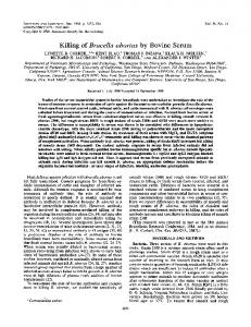 Killing of Brucella abortus by Bovine Serum - Infection and Immunity
