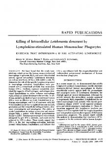 Killing of Intracellular Leishmania donovani by - NCBI