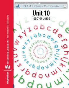 Kindergarten: Skills Unit 10 Teacher Guide - EngageNY