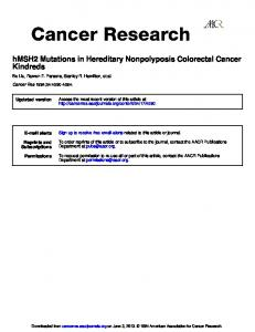 Kindreds hMSH2 Mutations in Hereditary Nonpolyposis Colorectal ...
