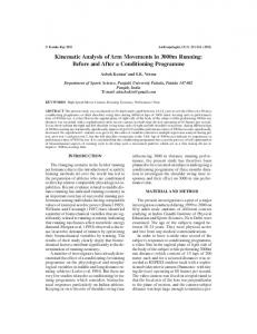 Kinematic Analysis of Arm Movements in 3000m Running: Before and ...