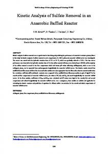 Kinetic Analysis of Sulfate Removal in an Anaerobic Baffled Reactor