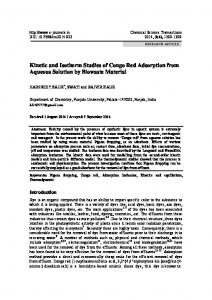Kinetic and Isotherm Studies of Congo Red Adsorption from Aqueous ...