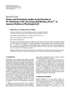 Kinetic and Mechanistic Studies on the Reaction of DL-Methionine