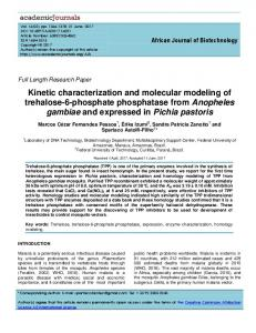 Kinetic characterization and molecular modeling ... - Academic Journals