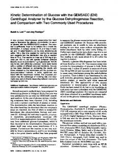 Kinetic Determination of Glucose with the ... - Clinical Chemistry
