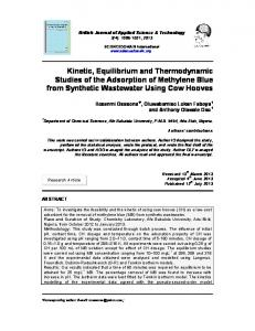 Kinetic, Equilibrium and Thermodynamic Studies ... - Journal Repository