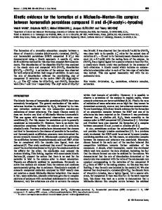 Kinetic evidence for the formation of a Michaelis ... - Semantic Scholar
