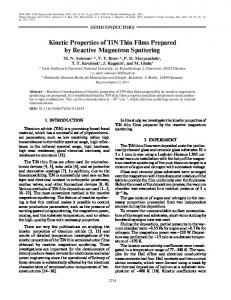 Kinetic Properties of TiN Thin Films Prepared by ... - Springer Link