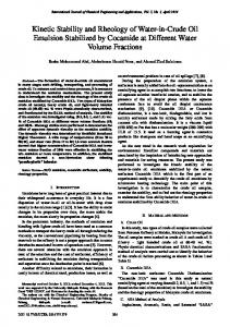 Kinetic Stability and Rheology of Water-in-Crude Oil Emulsion ...