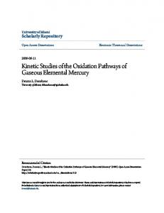 Kinetic Studies of the Oxidation Pathways of