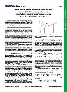 Kinetic Theory of Molecular Mechanism of Micellar ... - CSJ Journals