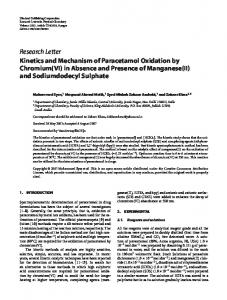 Kinetics and Mechanism of Paracetamol Oxidation by Chromium(VI) in ...