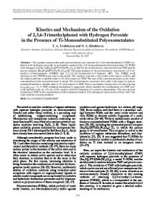 Kinetics and Mechanism of the Oxidation of 2,3,6 ... - Springer Link