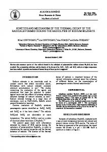 kinetics and mechanism of the thermal decay of the radicals formed ...