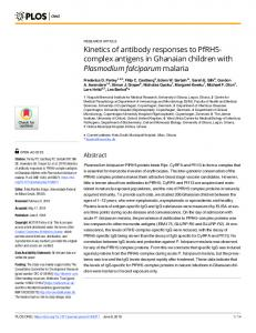 Kinetics of antibody responses to PfRH5-complex antigens in ... - PLOS